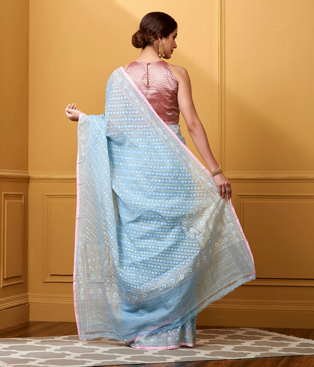 Handwoven Light Blue Nilambari Cotton Saree