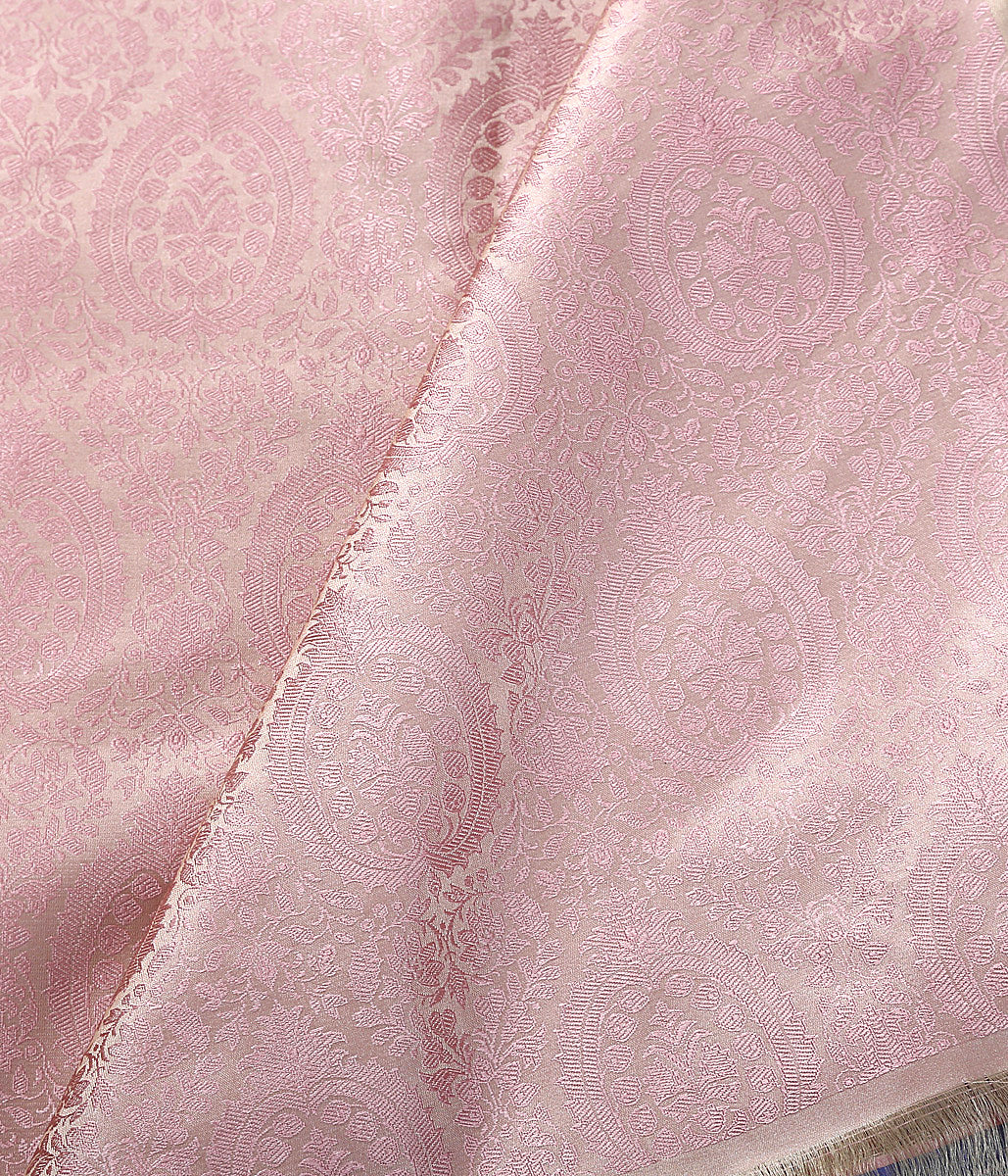 Handwoven soft Pink Self Weave Tanchoi Fabric