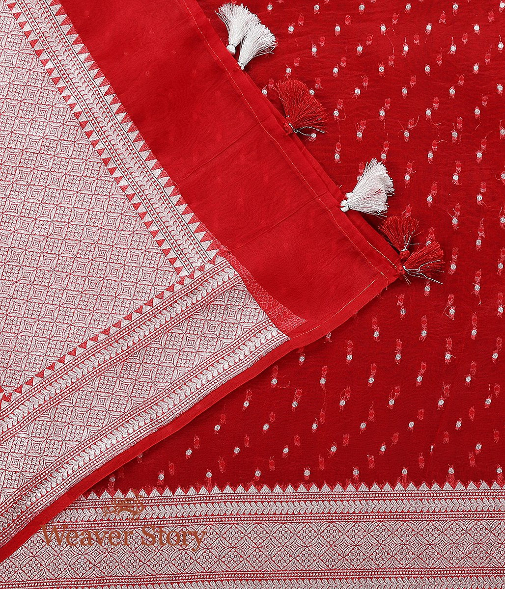 Handwoven Red Organza Booti Dupatta with Silver Zari
