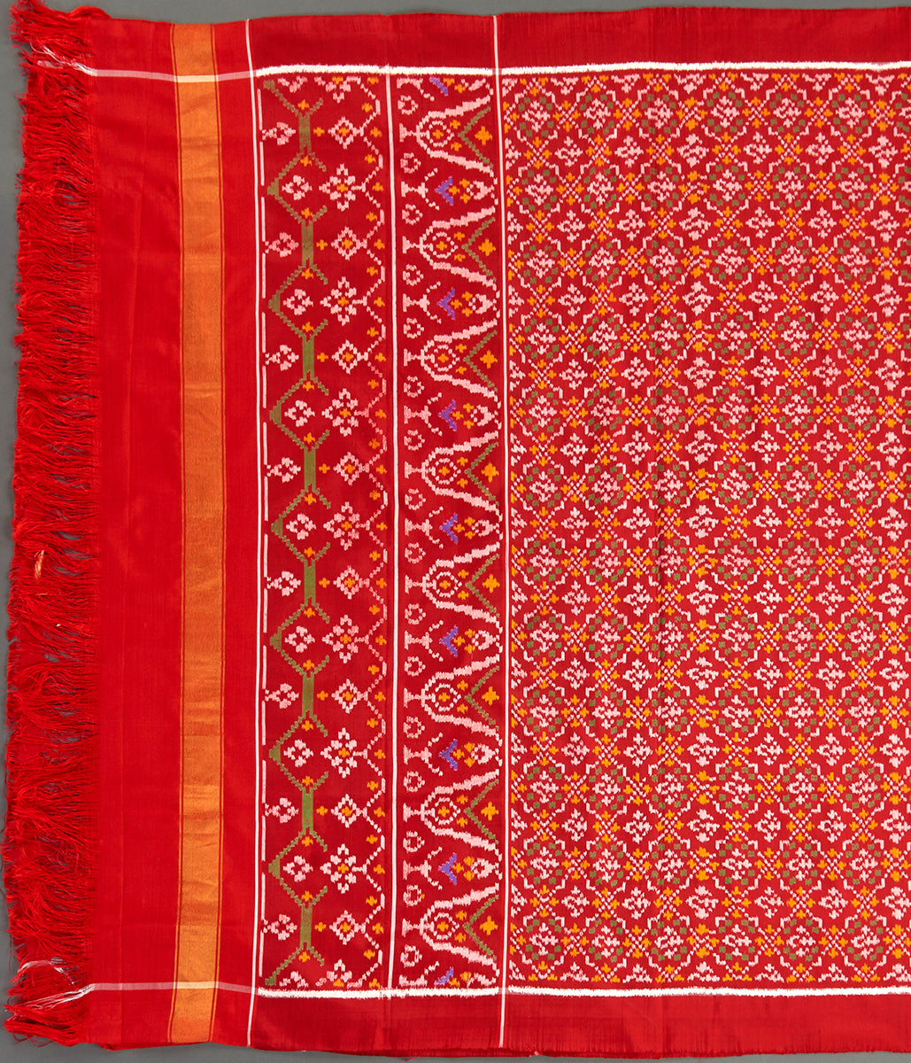 Handwoven Ikat Patola Dupatta in Red