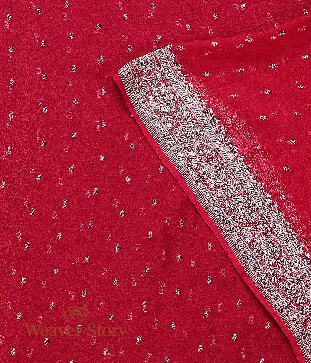 Handwoven Red Georgette Dupatta with Silver Zari