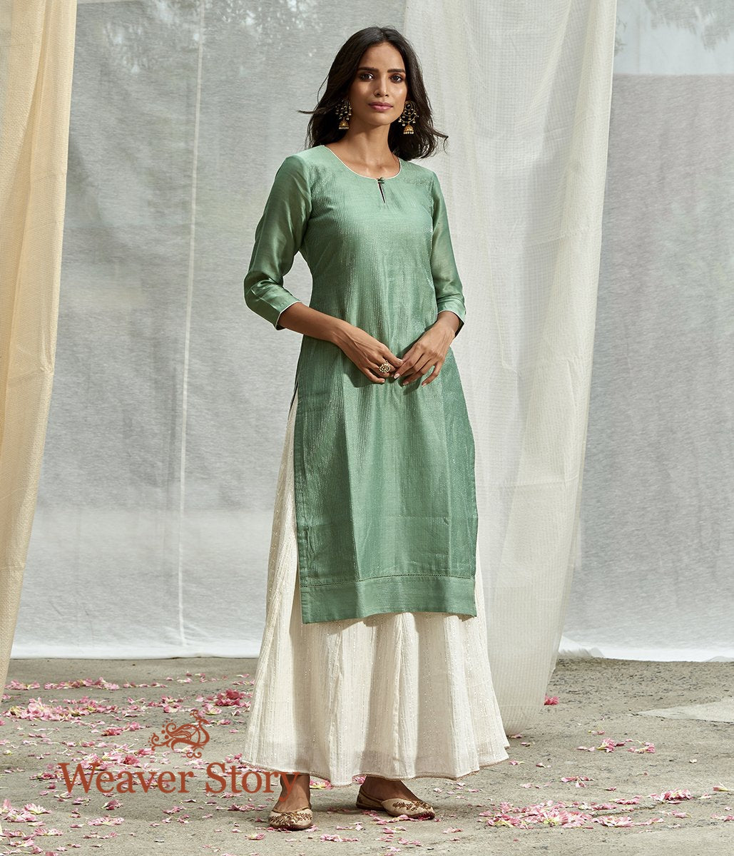 Handwoven Sage Green Chanderi Cotton Silk with Tagai Work Tunic with White Skirt and Dupatta