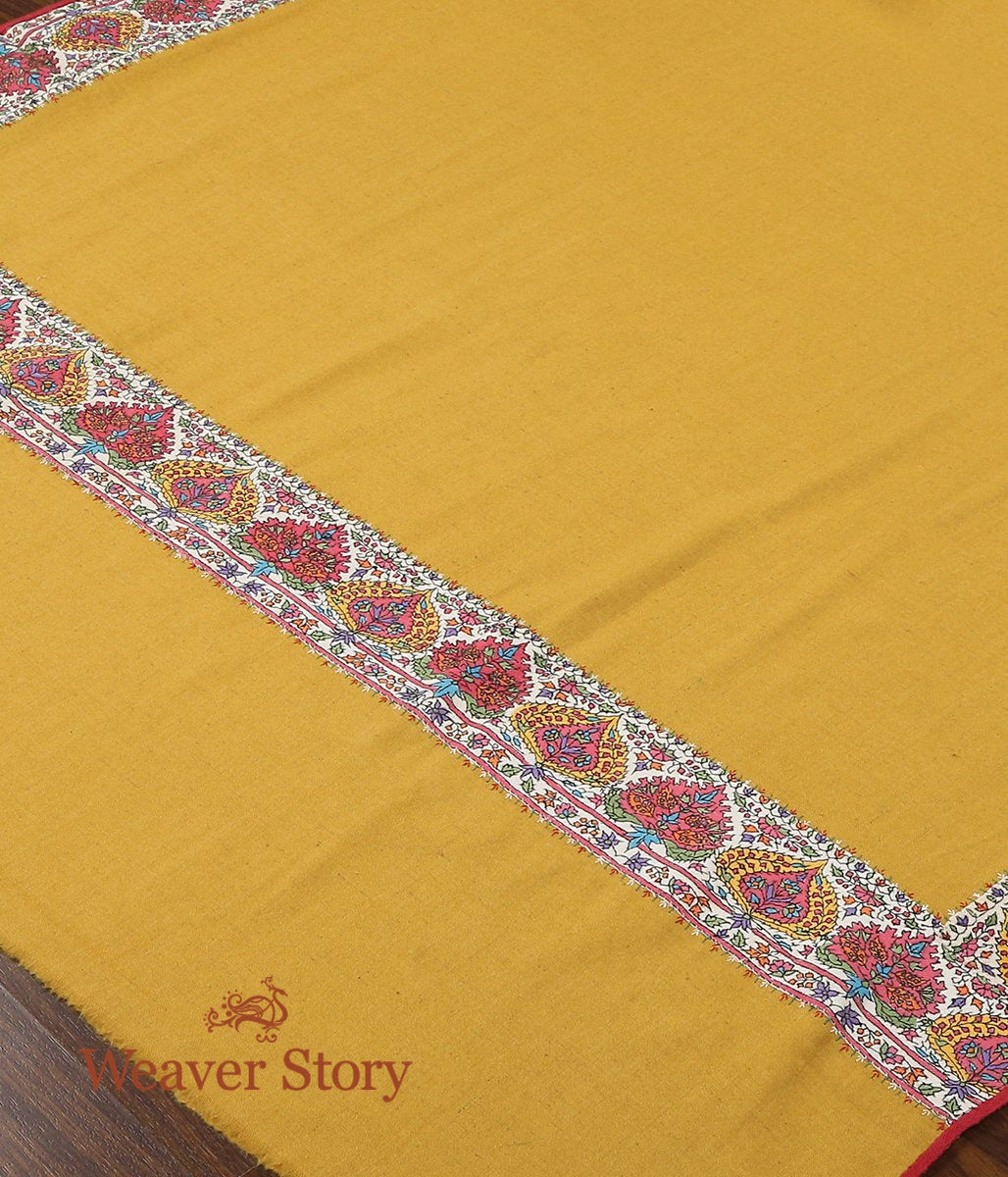 Mustard Pure Pashmina Shawl with White Appliqued Sozni Border