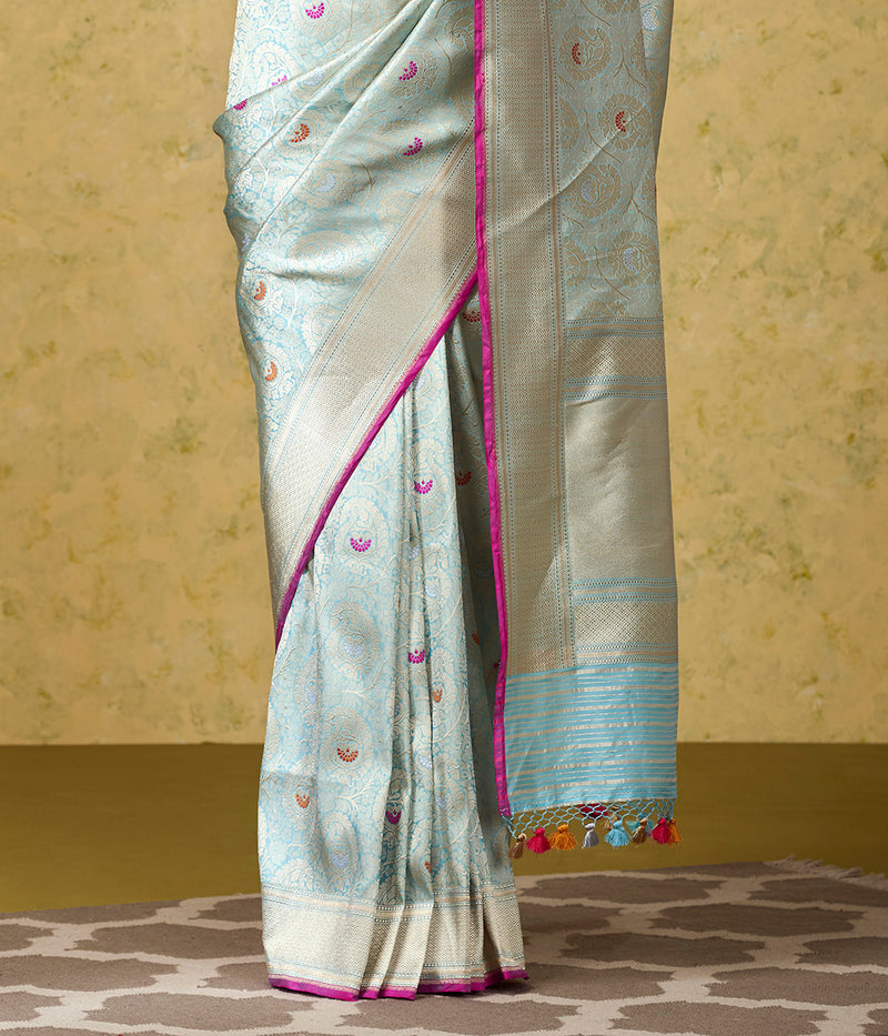 Handwoven Katan Silk Banarasi Brocade Saree with Meenakari