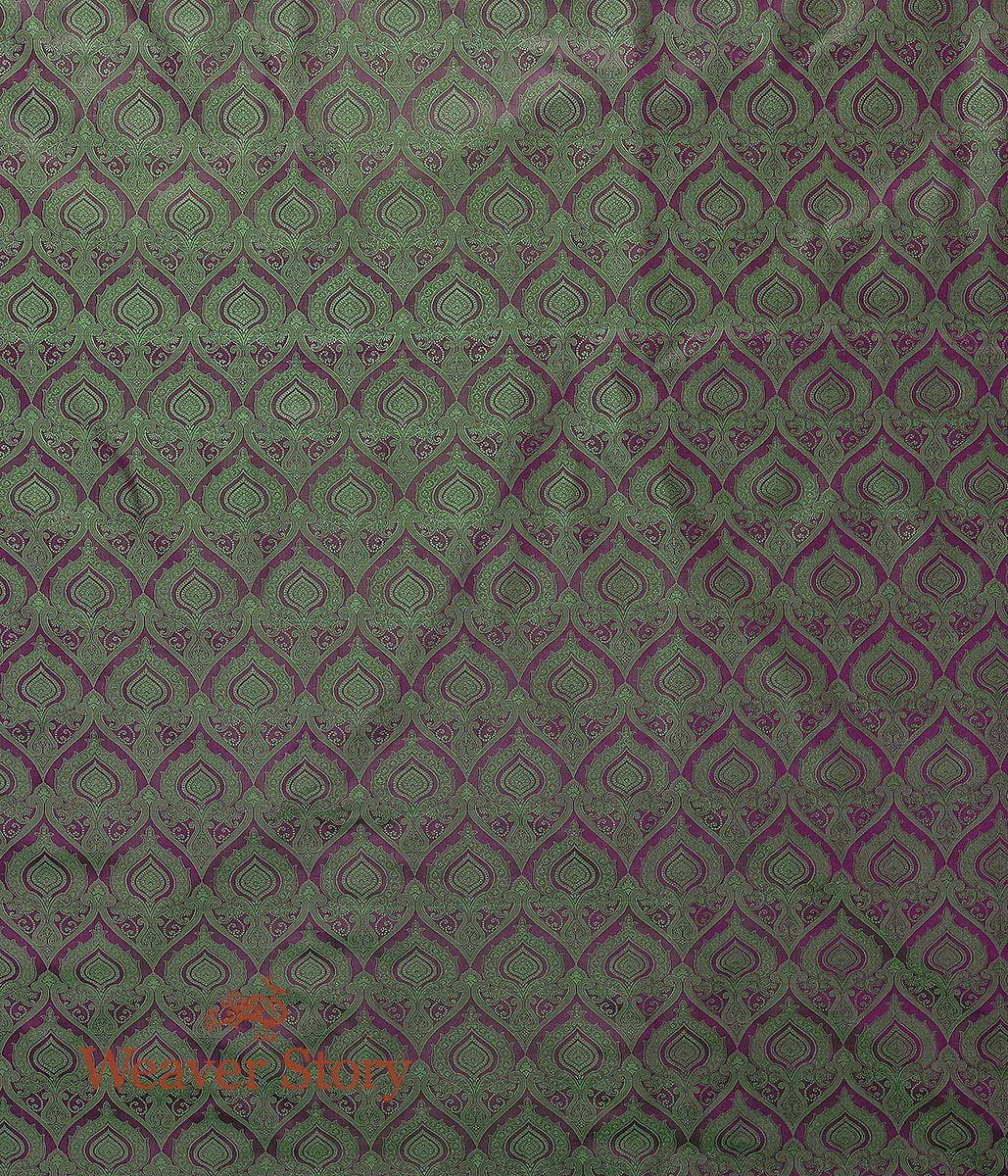 Handwoven Purple and Green Tanchoi Fabric