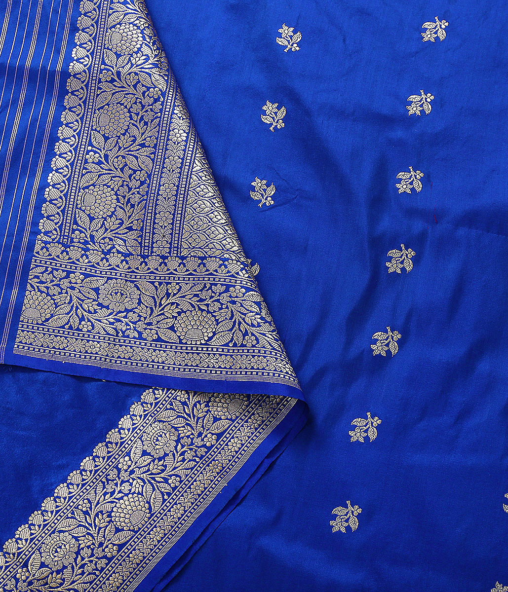 Handwoven Blue Katan Silk Dupatta with Kadhwa Border and Booti