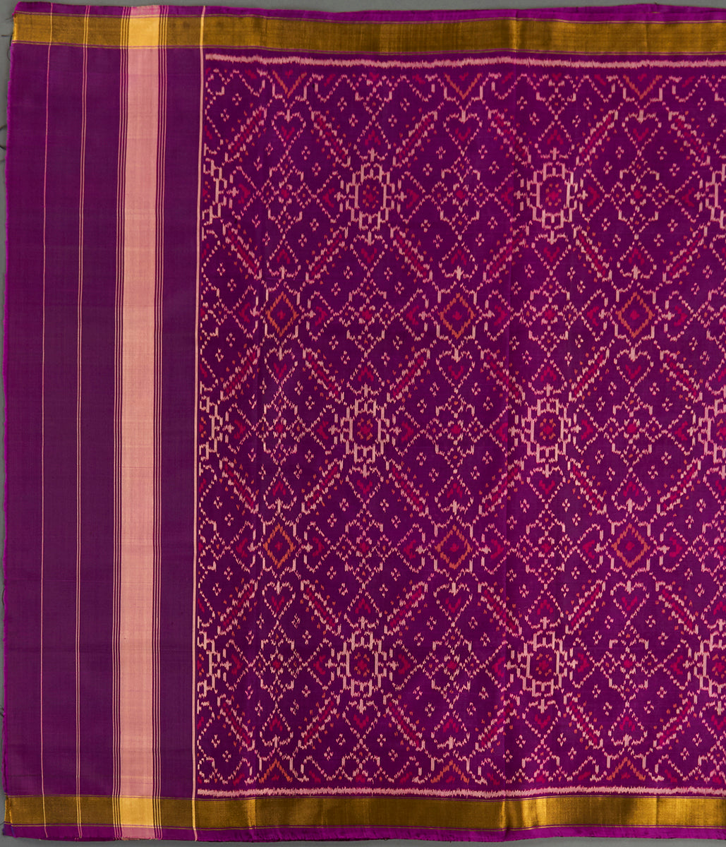 Handwoven Rajkot Silk Patola Dupatta in Purple