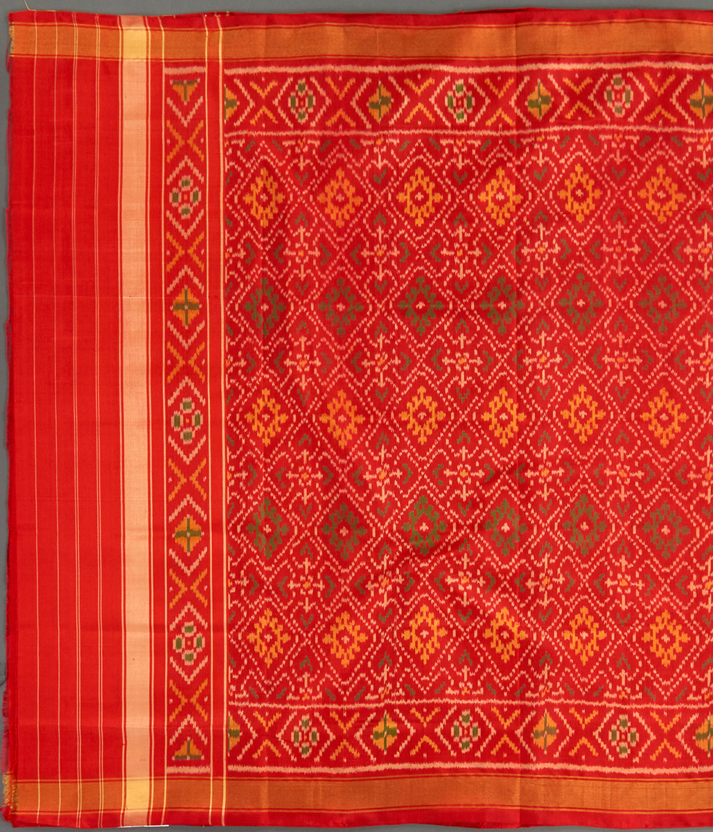 Handwoven Rajkot Silk Patola Dupatta in Red with Zari Border