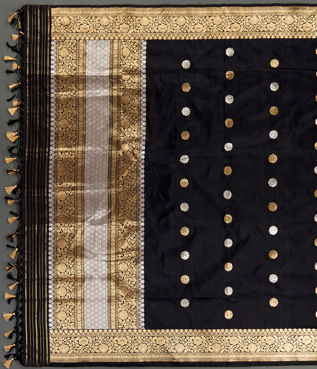 Handwoven Black Katan Silk Dupatta with Kadhwa Booti