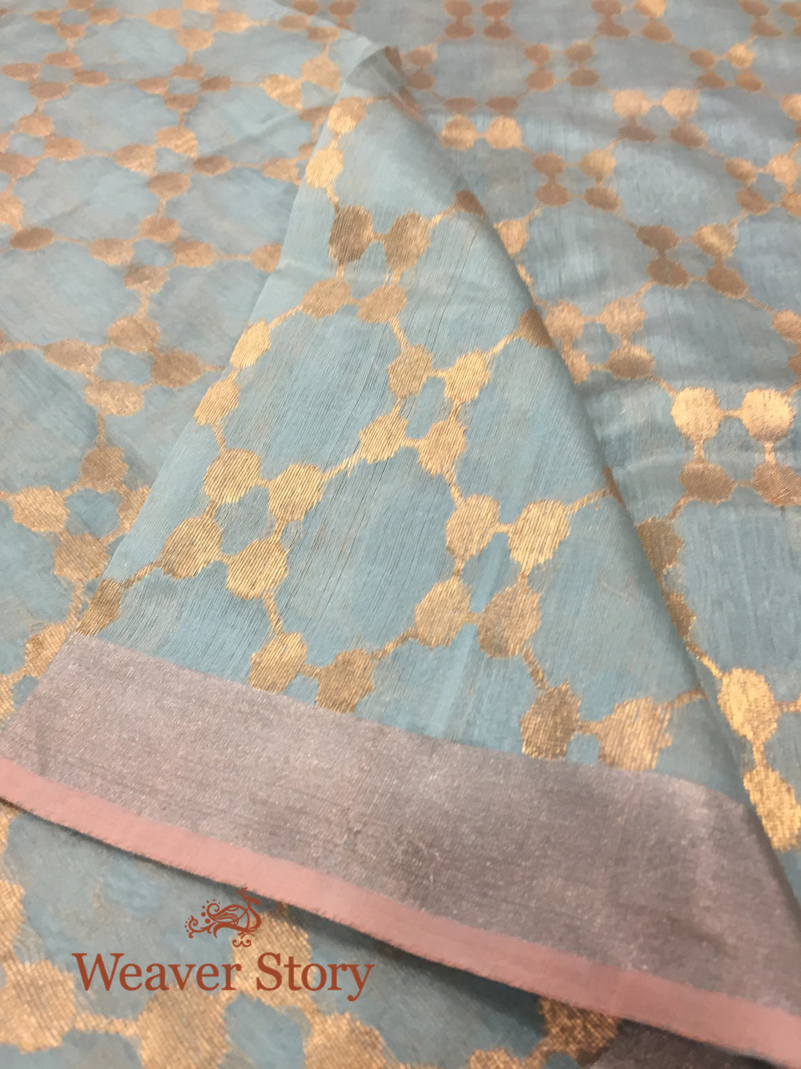 Handwoven Light Blue Silk Jaal Dupatta
