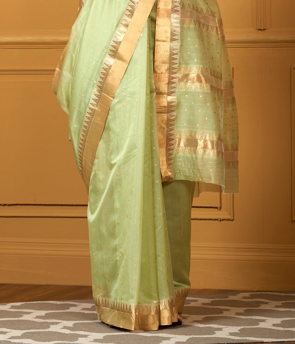 Handwoven Pista Green Small Booti Saree with Temple Border