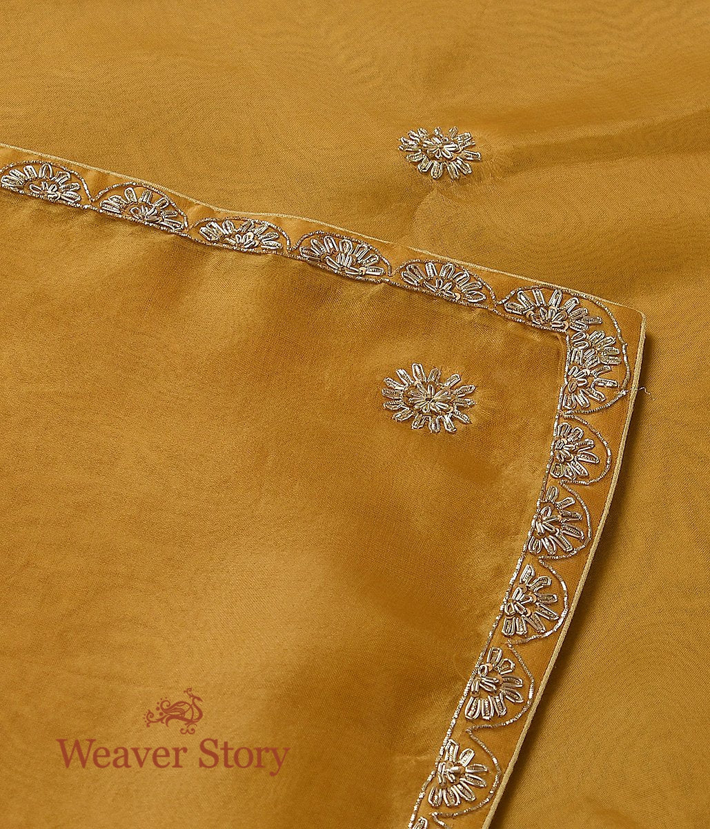 Handwoven Yellow Dupatta with Scalloped Zardozi Work