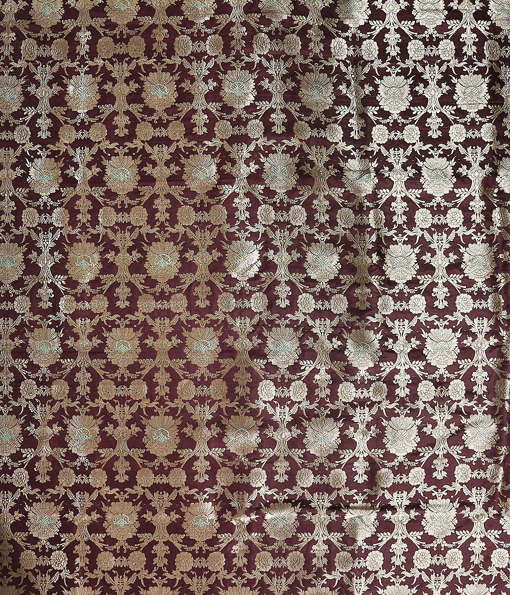Handwoven Banarasi Brown Kadhwa Jangla Fabric