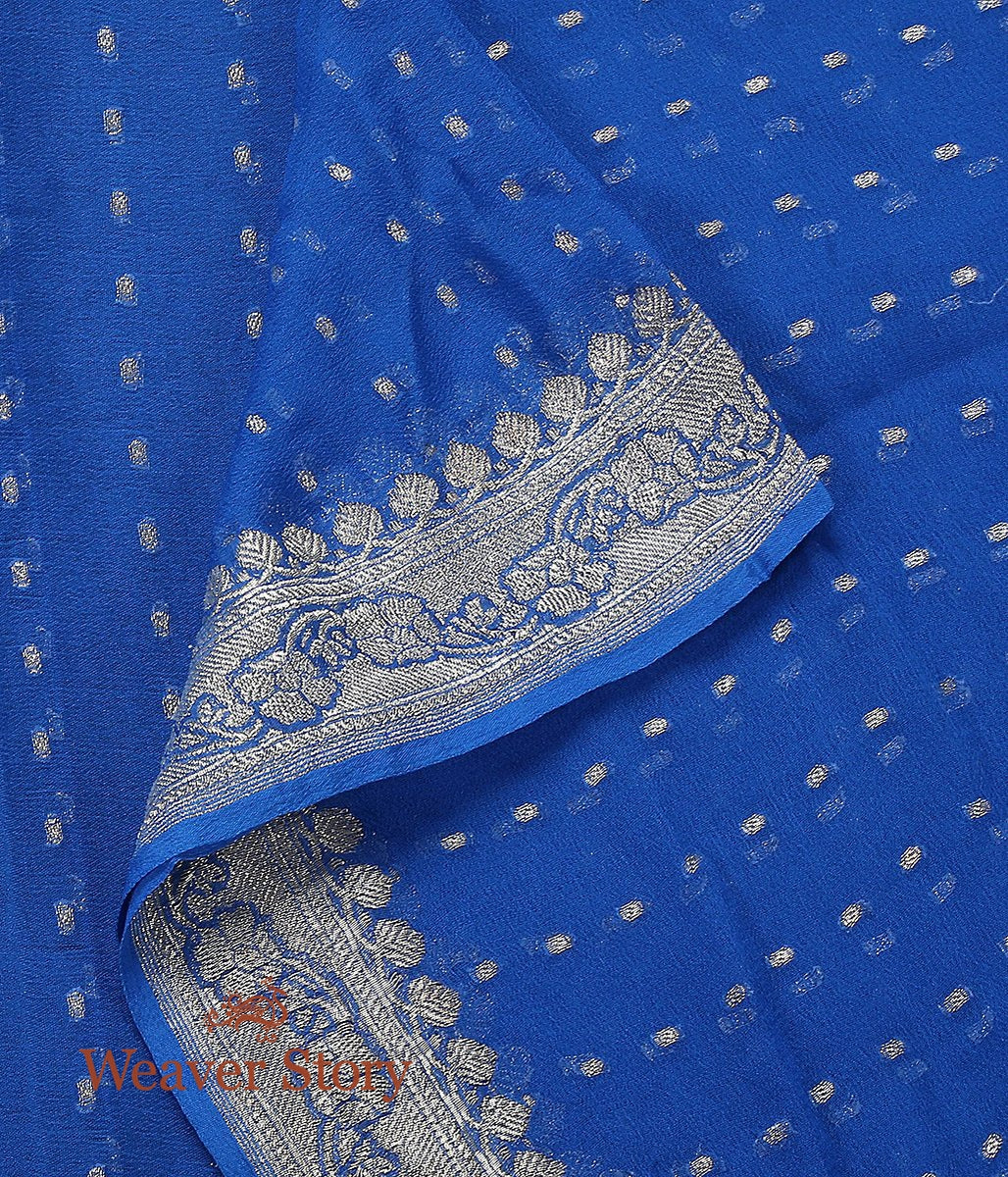 Handwoven Blue Georgette Dupatta with Silver Zari