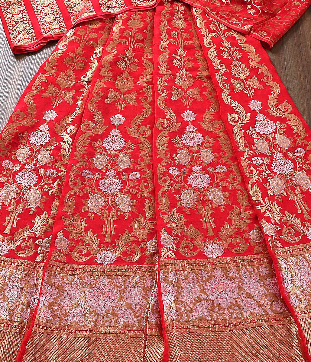 Red Banarasi Georgette Lehenga with sona rupa zari