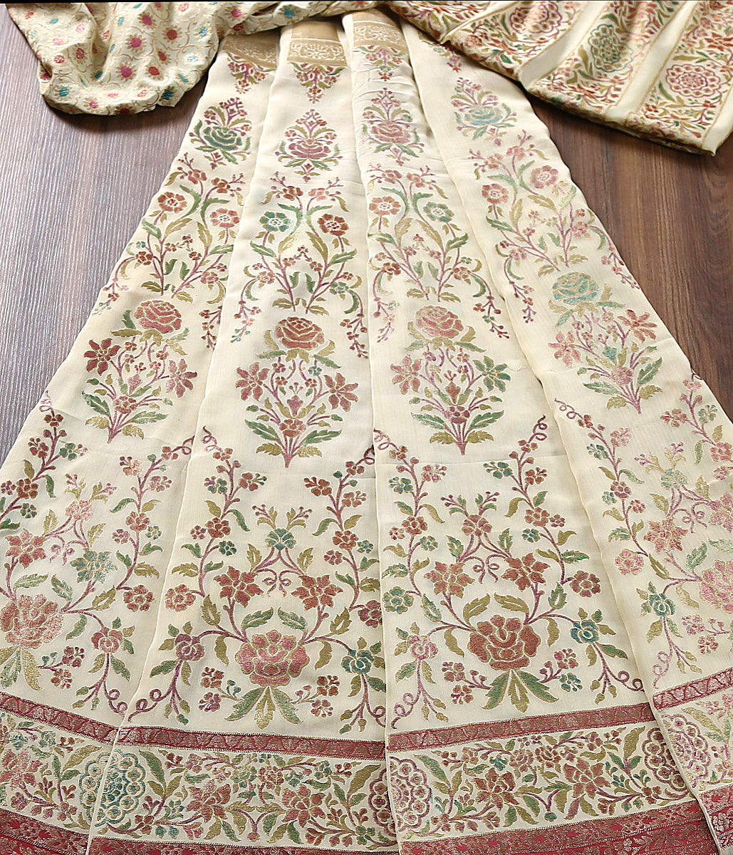 Handwoven Banarasi Beige Hand Brush Painted Lehenga in pure georgette