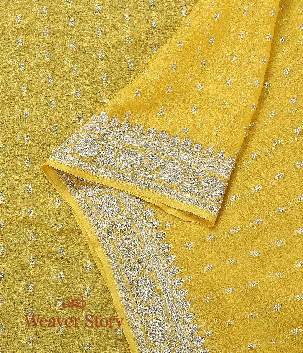 Handwoven Yellow Georgette Dupatta with Silver Zari
