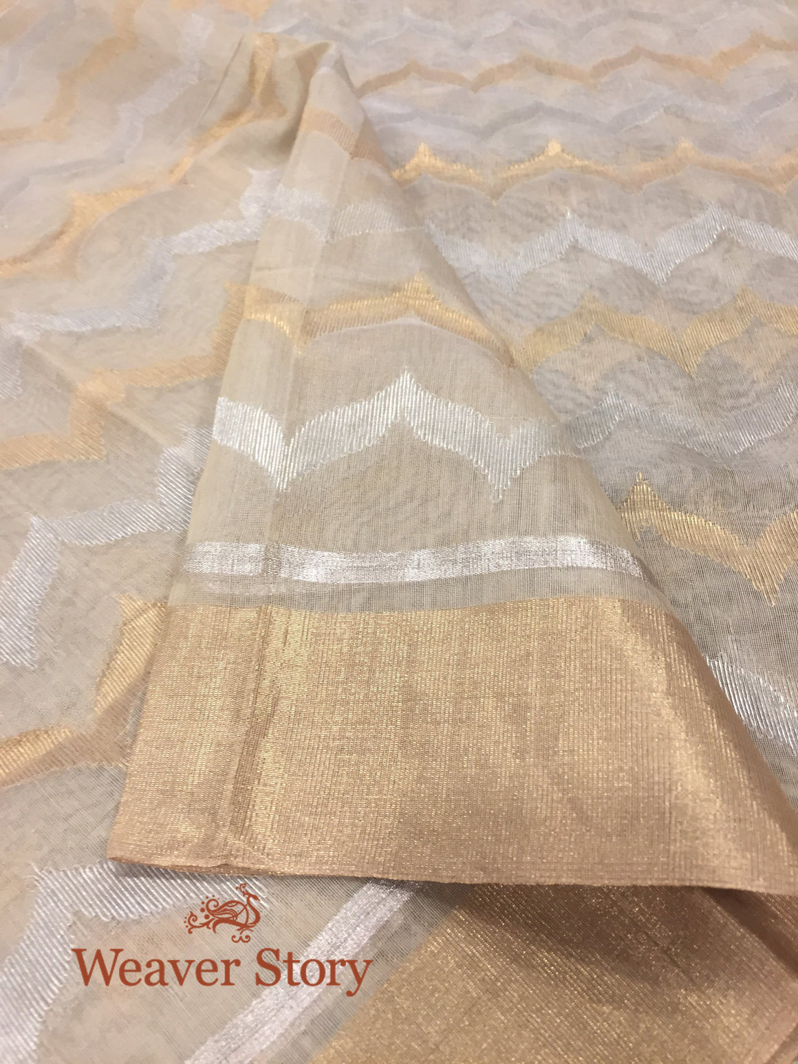 Handwoven Cotton Silk Geometric Pattern Dupatta in Gold