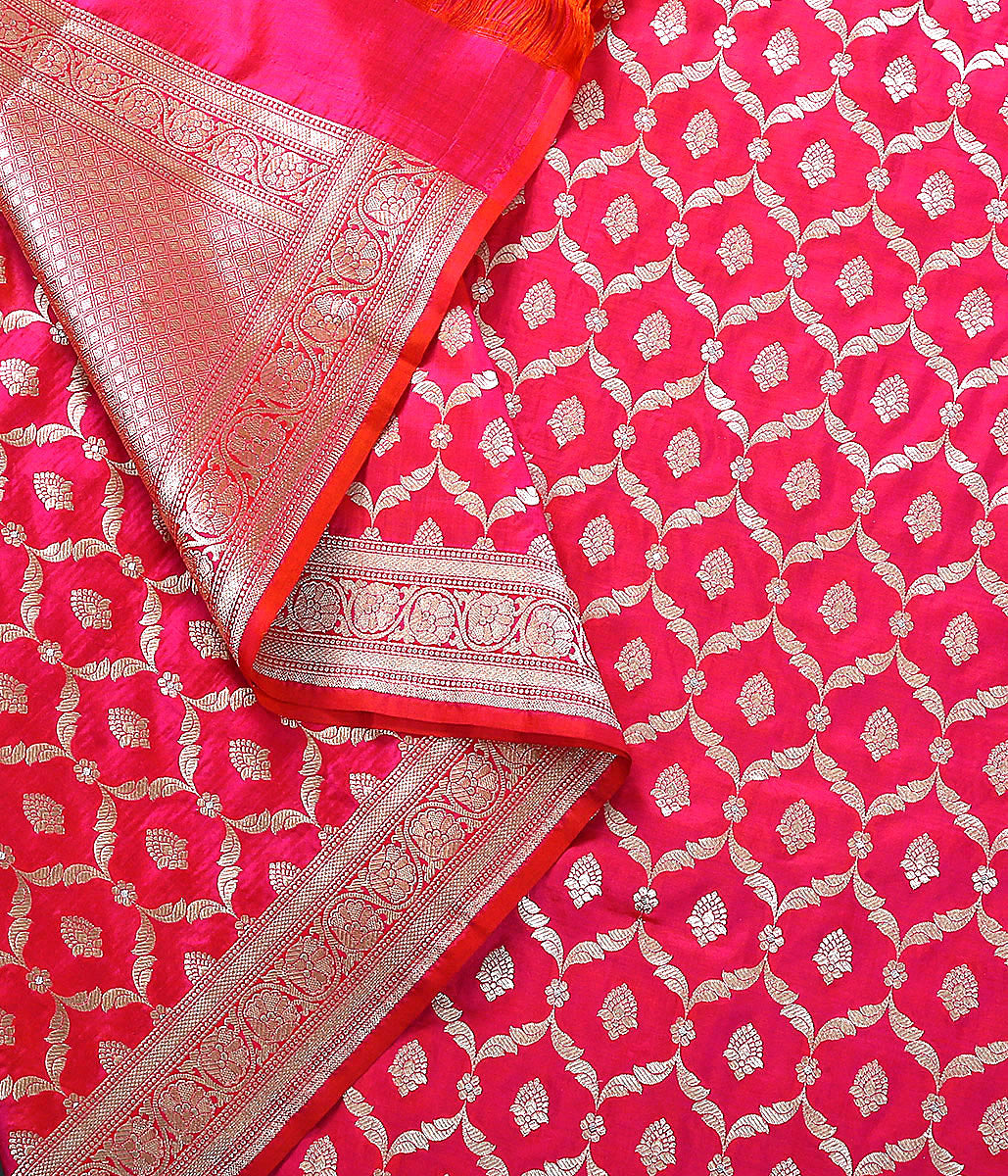 Handwoven Pink and Orange dual tone Silk Jangla Dupatta