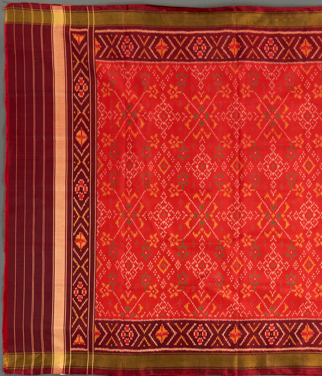 Handwoven Rajkot Silk Patola Dupatta in Orange with Mahroon Border