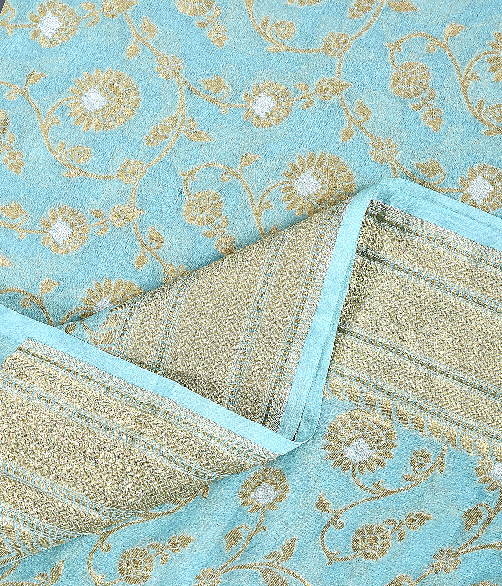 Handwoven Light Blue Banarasi Georgette Jangla Dupatta