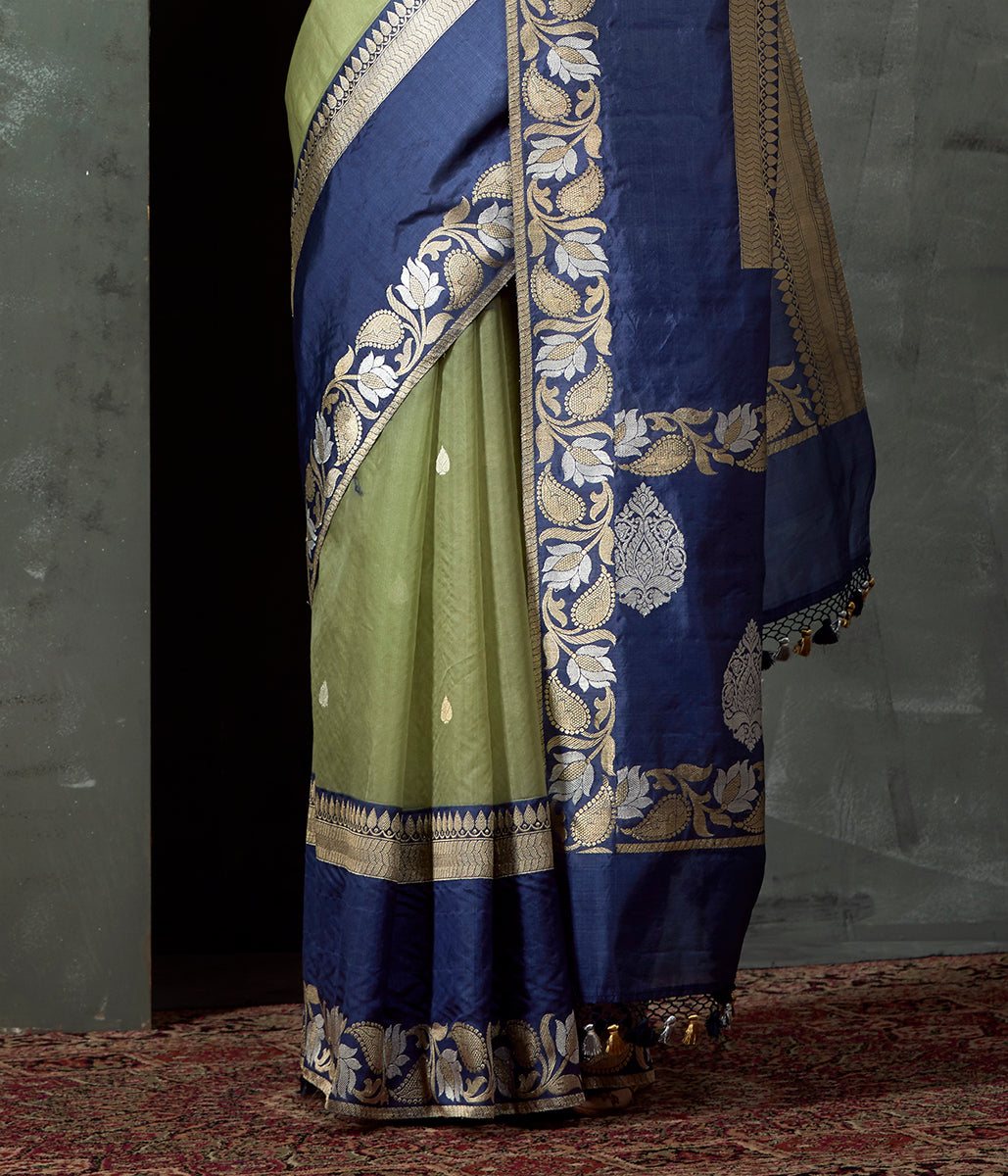 Handwoven Green Kora Saree with Blue Border