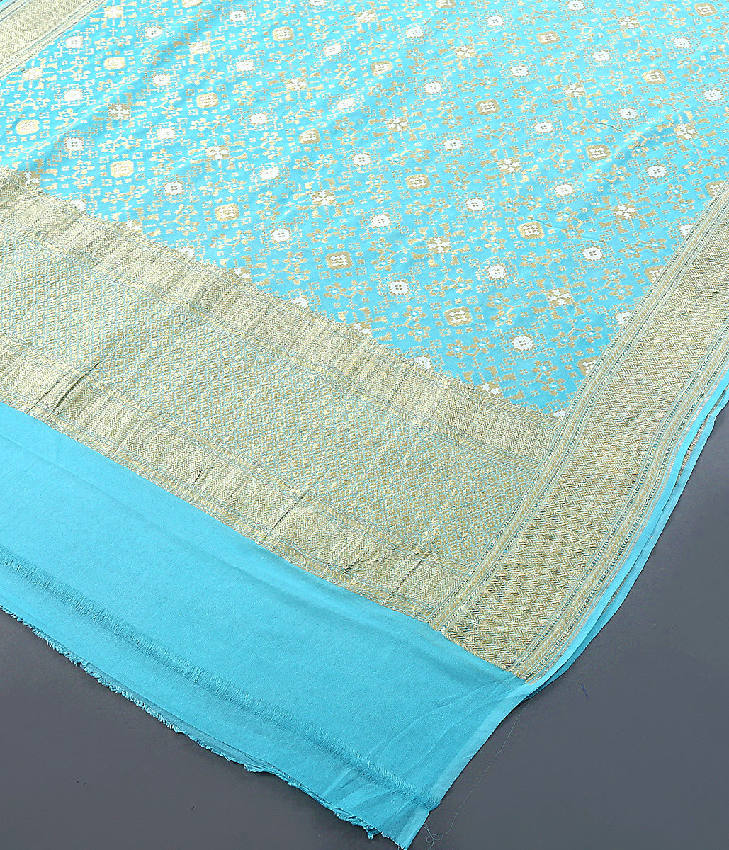 Light Blue Cutwork Jangla Dupatta Woven in Georgette