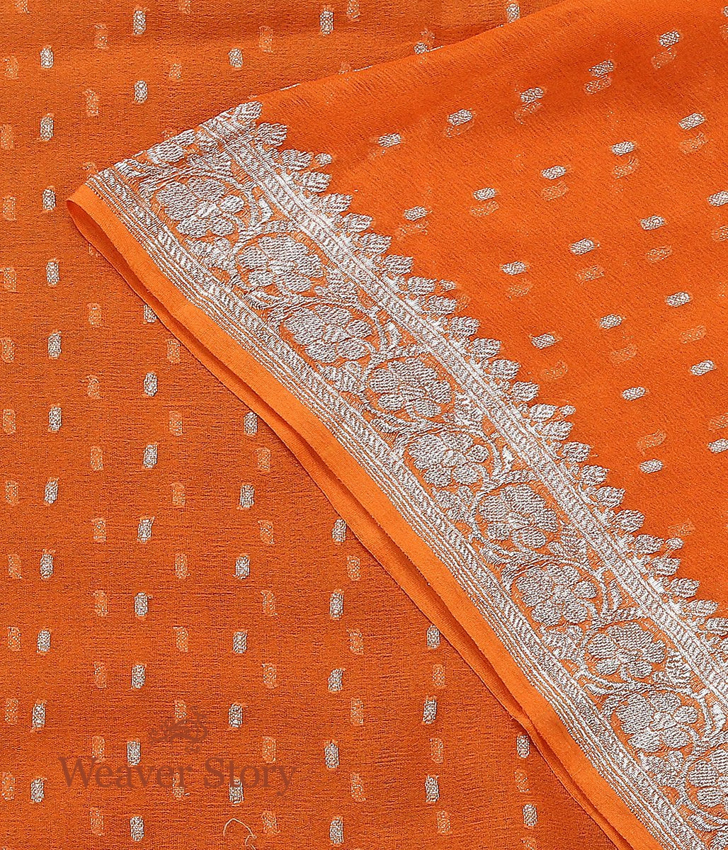 Handwoven Orange Georgette Dupatta with Silver Zari