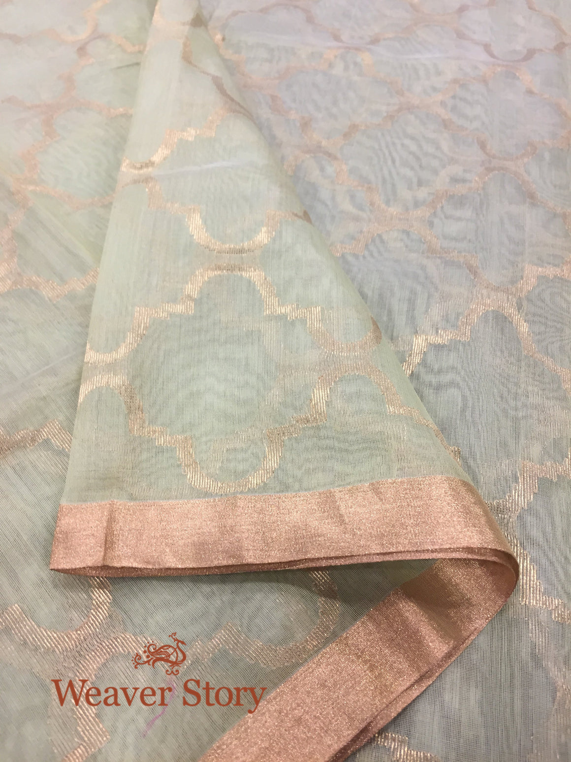 Handwoven Green and Gold Zari Dupatta