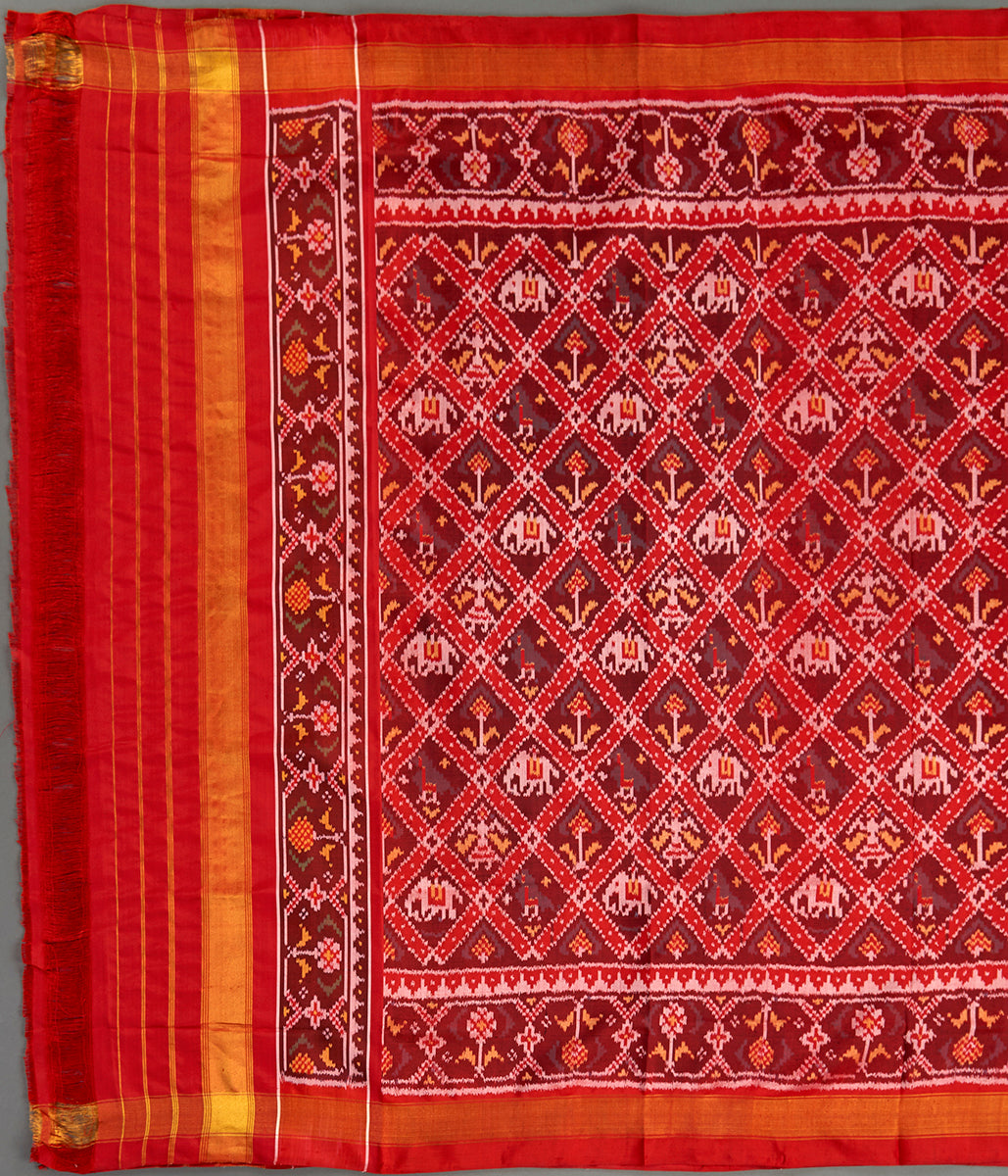 Handwoven Ikat Patola Dupatta in Mahroon and Brown