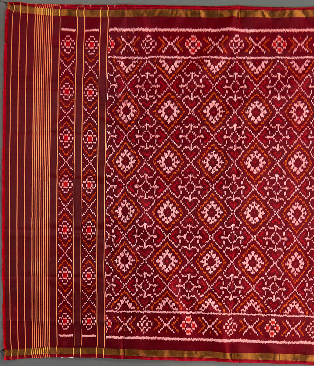 Handwoven Rajkot Silk Patola Dupatta in Brown