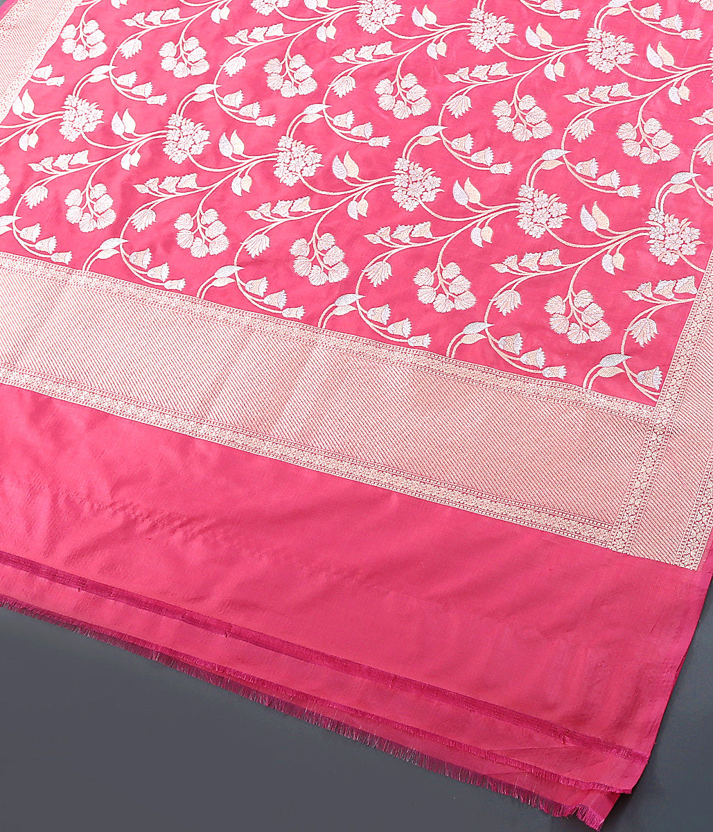 Pink dual tone Katan Silk Dupatta with Gold and Silver Jaal