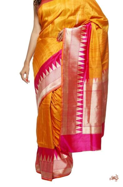 Handwoven banarasi tusser saree with temple borders - WeaverStory - 1