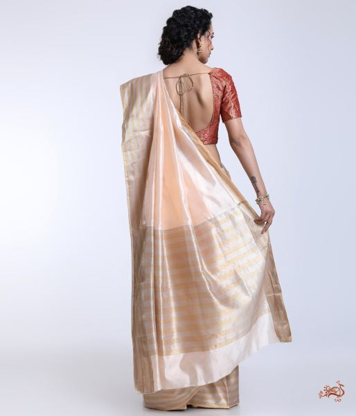 Handwoven Peach Chanderi Silk Saree With A Gold And Silver Border Saree