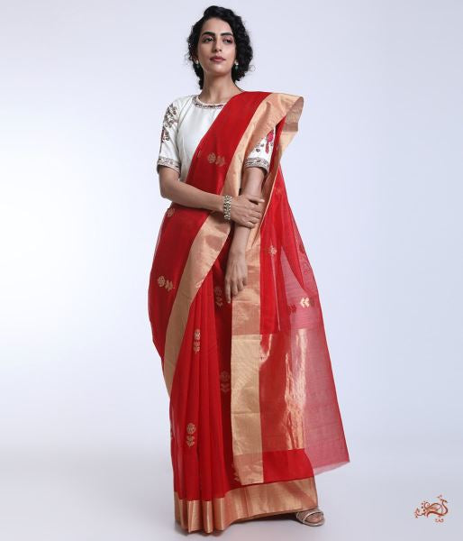 Bridal Red Handwoven Chanderi Saree With Tissue Palla Saree