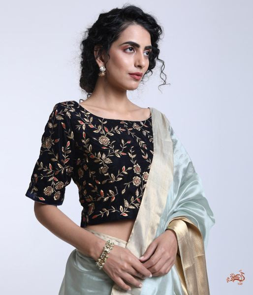 6f78d91073 Navy Blue Velvet Blouse With Zari Jaal And Hand Embroidery Blouses/ Crop  Tops ...