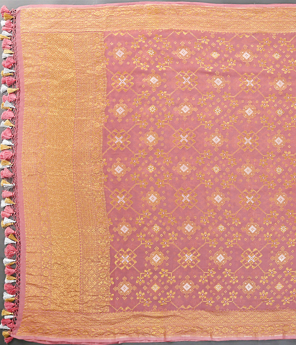 Rose Pink Cutwork patola Dupatta woven in Georgette