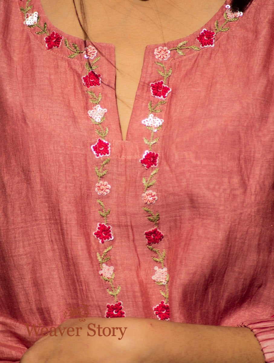 Old Rose Handwoven Mul Chanderi Kurta with Hand Embroidery, Cotton Trousers and Chanderi Dupatta