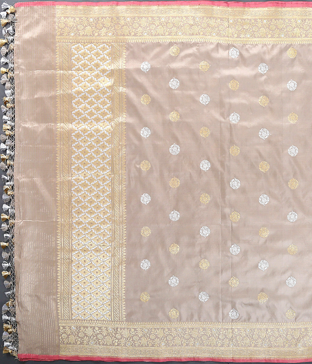 Beige Grey Kadhwa Booti Dupatta with Pink Selvedge