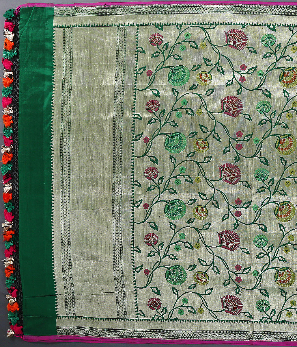 Green kimkhab katan silk dupatta with meenakari