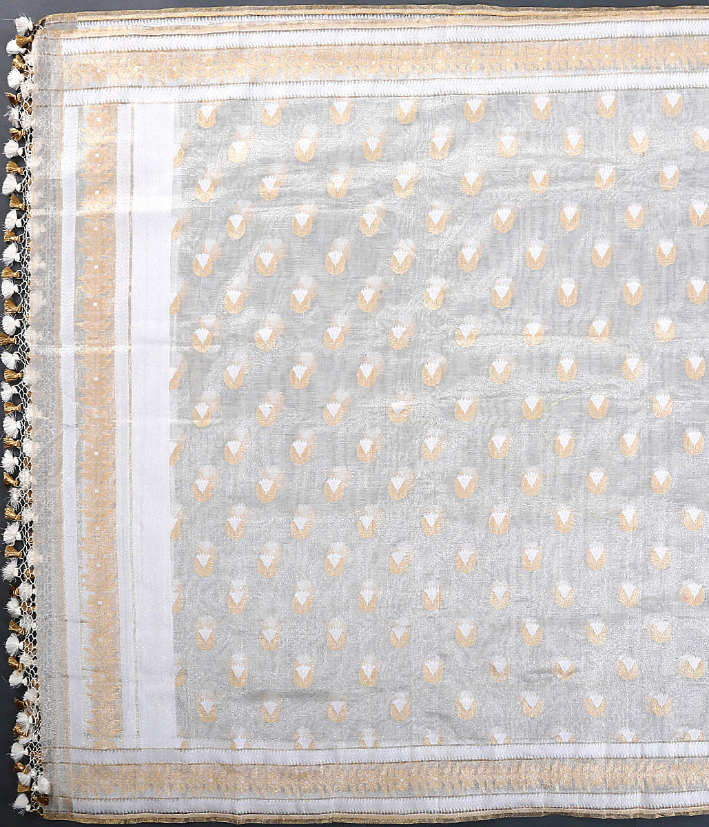 Offwhite and gold pure mulmul cotton dupatta with tissue weft