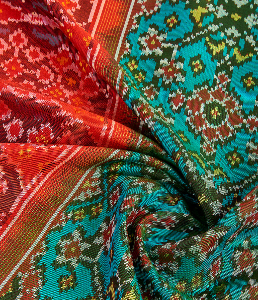 Handwoven Ikat Patola Dupatta in Turquoise and Red