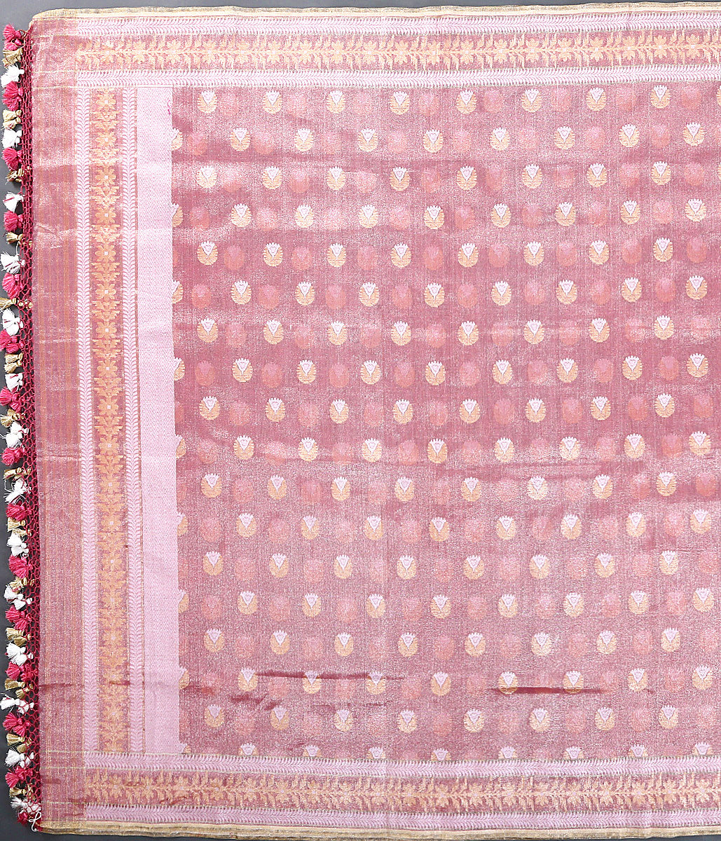 Soft pink and red pure mulmul cotton dupatta with tissue weft