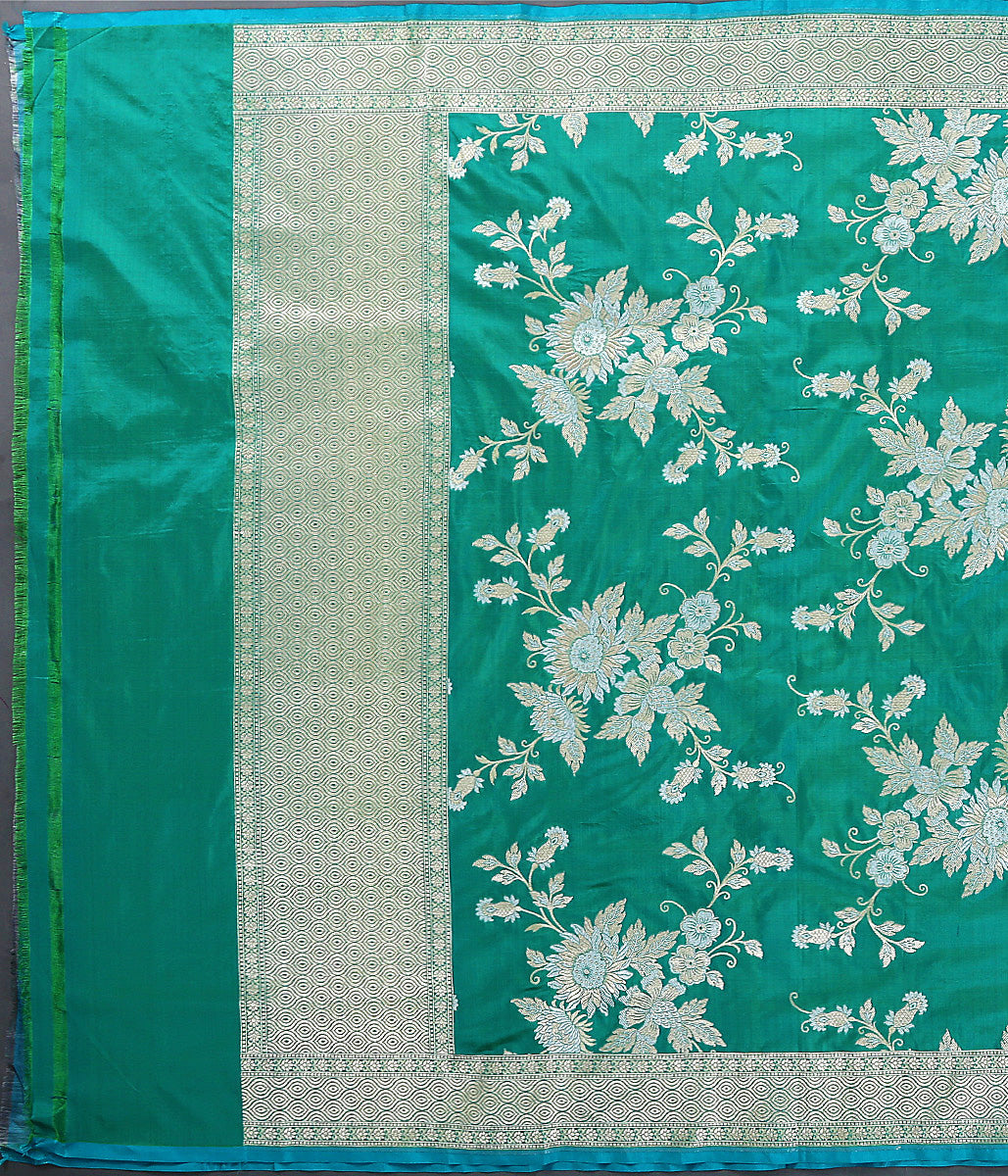 Aqua Green Katan Silk Dupatta with Gold and Silver Jaal