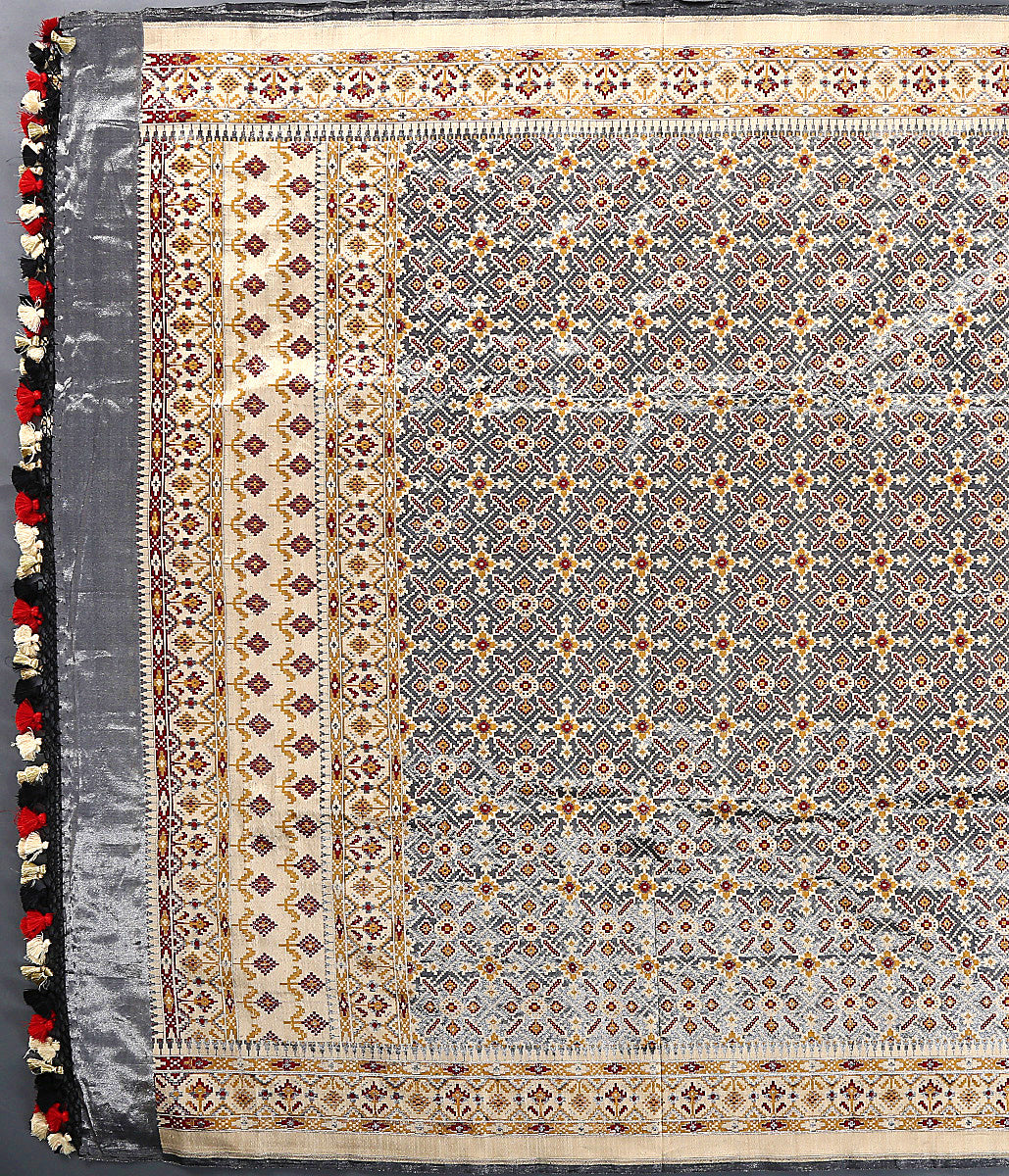 Grey Beige Tissue Patola in Ektara weave