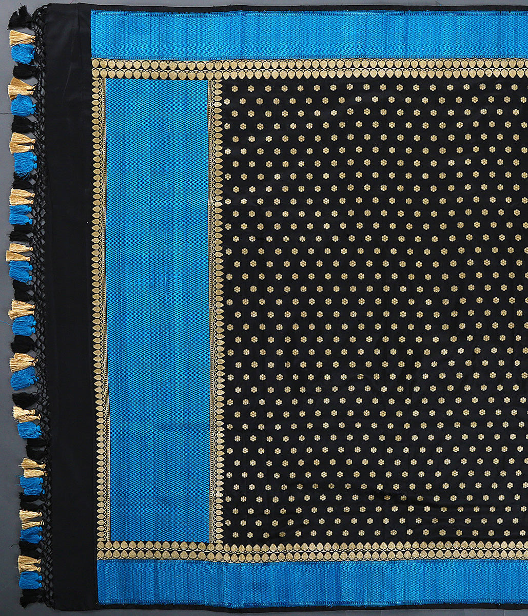 Black katan silk dupatta with woven dupion silk border in turquoise blue