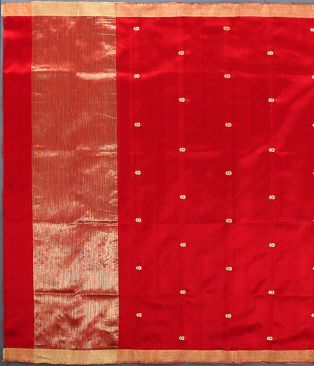 Red Chanderi Small Flower Motif Dupatta with Meena