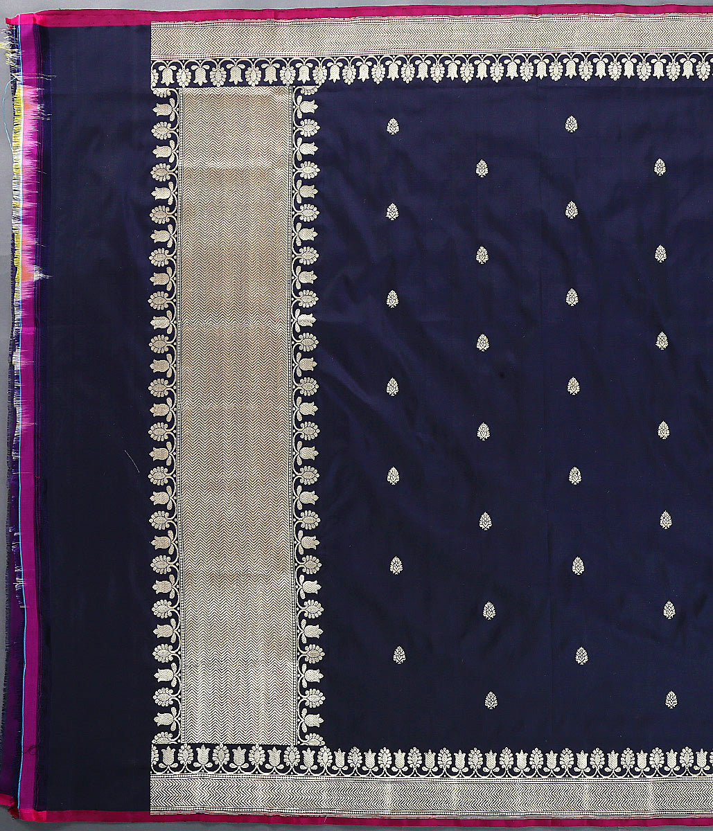 Black Kadhwa Booti katan silk dupatta with pink selvedge