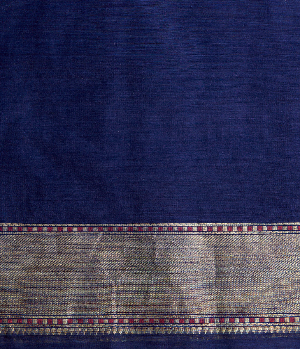Handwoven Navy Blue Cutwork Jangla with Konia