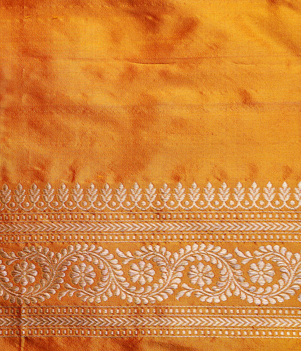 Handwoven Kadhwa booti banarasi in an unusual yellow and red dual tone